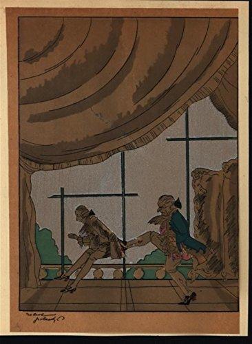 Aristocracy Corporal Punishment c.1930 vintage hand color pochoir art deco print