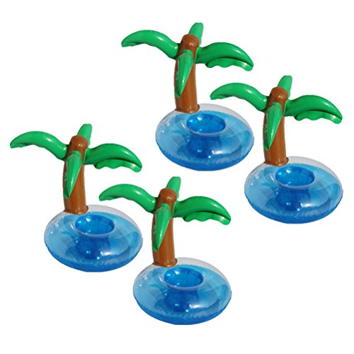 - BESTOYARD 4Pcs Inflatable Palm Trees Coasters Jumbo Coconut Trees Drink Cup Holder Beach Backdrop Party Favors Decoration for Hawaiian Luau Party