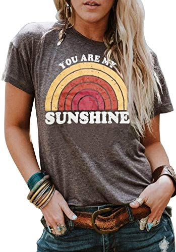 Short Sleeve T Shirt for Women Teen Girls Rainbow Graphic Tees Casual Vintage Print O Neck Tee Shirt Blouse Tops (Small, Grey)