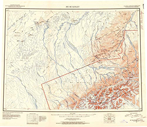 YellowMaps Mount McKinley AK topo map, 1:250000 Scale, 1 X 3 Degree, Historical, 1952, Updated 1954, 22.8 x 26.3 in - Paper