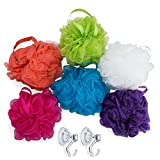 #10: Larkin Loofahs with Shower Hooks (6-Pack) Large Bath and Shower Sponges | Face, Body, Back Scrubbers | Soft, Mesh Scrub for Men, Women, Kids | Gentle Exfoliation