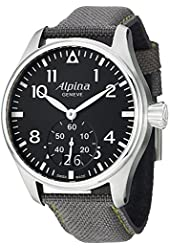 Alpina Startimer Pilot Black Dial Grey Fabric Strap Mens Watch AL-280B4S6