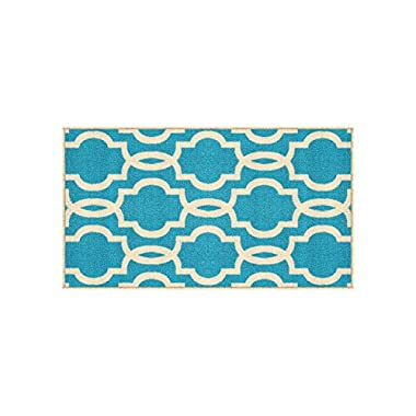 Kapaqua Rubber Backed Fancy Moroccan Trellis Doormat Accent Non-Slip Rug, 18  W x 32  L, Light Blue & Ivory