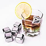 RIROAD 8PCS Deluxe Cooling Cubes Whiskey Stones Rocks/Reusable Stainless Steel Ice Cubes/ Ice Rocks with with Gift Box