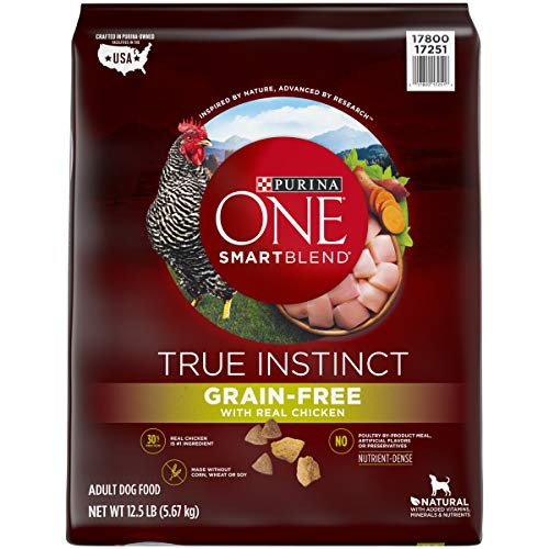 Purina ONE Grain Free, Natural, High Protein Dry Dog Food, SmartBlend True Instinct Real Chicken - 12.5 lb. Bag Dog Food No Chicken