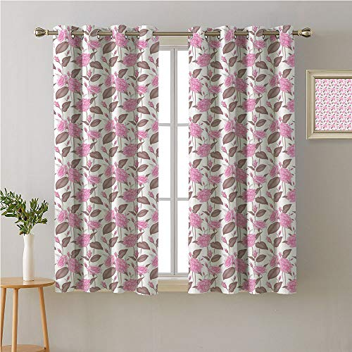 Jinguizi Flower Grommet Room/Bedroom,Victorian Composition with Blossoming Garden Art with Abstract Roses,pop Darkening Curtains,96W x 72L