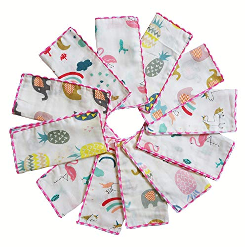 Muslin Baby Washcloths Set(12-Pack),Natural 4-Layer Cotton Infant Bath Towel with Cartoon Design,Soft Toddler Face Towel Gift Registry Newborn Baby Shower, 9x9 Inches, Tropical Rainforest (Best Shops For Baby Clothes)