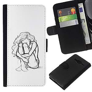 KingStore / Leather Etui en cuir / Samsung Galaxy Core Prime / Mujer Chica Depresión Heartbreak Sad;