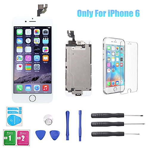 Only for iPhone 6 4.7inch LCD Screen Replacement Touch Digitizer Full Assembly with Home Button, Front Camera, Ear Speaker, Repair Tools,Not compatible with iPhone 6S or 6 Plus, White (Replacement 6 Iphone Screen Full)