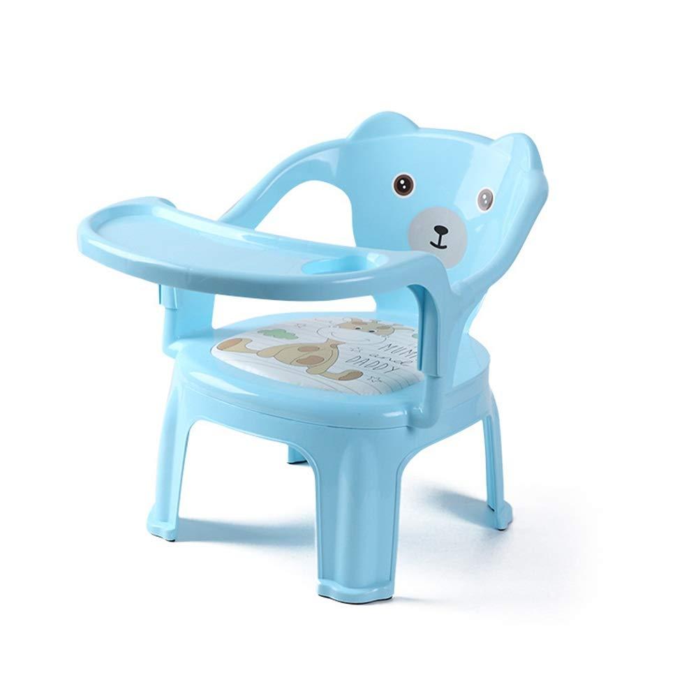 子供用テーブルと椅子 ベビーブースターシートハイチェアポータブルキッズディナーチェア付きトレイ送りプレートテーブル滑り止め金庫快適で幼児向け子供子供用ダイニングチェア 多機能子供用ハイチェア (色 : 青)  青 B07TT29CV3