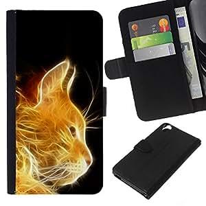 KLONGSHOP // Tirón de la caja Cartera de cuero con ranuras para tarjetas - Gato Fuego Jengibre Naranja Retrato Llamas Furry - HTC Desire 820 //