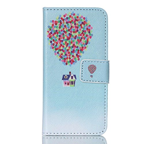 iPod Touch 5 Case, iPod Touch 6 Case, Easytop Fashion Style Premium PU Leather Wallet Type Magnet Design Flip Case Cover with Built-in Card Slots, Cash Pocket (Air Balloon House) ()