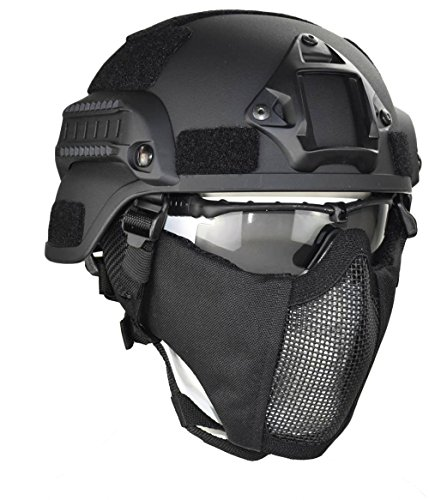 (Jadedragon MICH 2000 Style ACH Tactical Helmet with Protect Ear Foldable Double Straps Half Face Mesh Mask & Goggle (Black))
