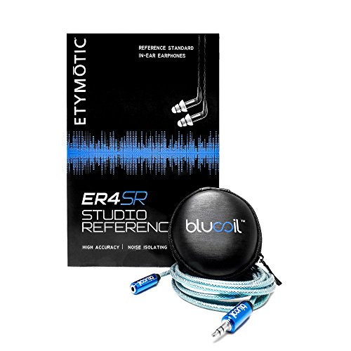 Etymotic Research ER4SR Studio Reference In-Ear Monitors PLUS Blucoil Carrying Case PLUS Blucoil 6 Foot Extender - VALUE BUNDLE