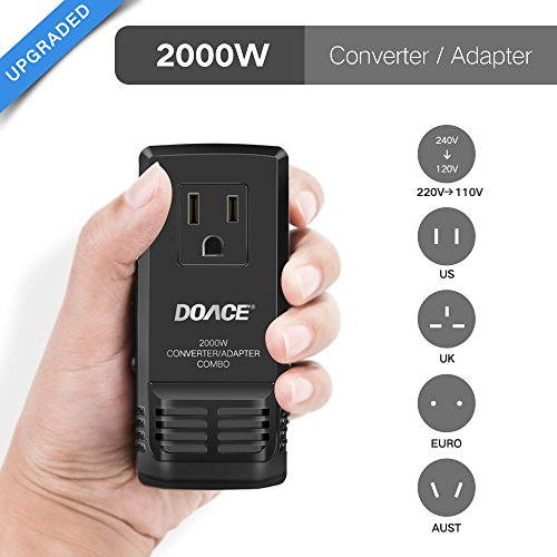 DOACE C8 Mini Transformer 2000W Worldwide Travel Converter and Adapter Combo, Set Down 220V to 110V International Voltage Converter for Hair Dryer, All in One Plug Adapter Wall Charge for UK/AU/US/EU (Volt 220 110 Converter)
