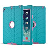 New iPad 9.7 Inch 2018 2017 Case - UZER Tire Pattern Shockproof Anti-Slip Silicone High Impact Resistant Hybrid Three Layer Hard PC+Silicone Armor Protective Case Cover for New iPad 9.7 inch 2018 2017