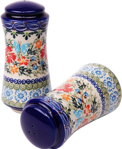 (Polish Pottery Ceramika Boleslawiec, 1313/238, Salt and Pepper Milano, 4 3/4 by 2 1/4 Inches in Diameter - 9 Tablespoons Each, Royal Blue Patterns with Red Cornflower and Blue Butterflies Motif)