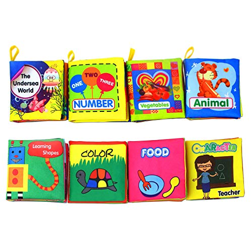 Coolplay Baby's First Non-Toxic Soft Cloth Book Set, Crinkle Books Friction with Rustling Sound - Pack of 8