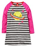 MISSHALO Embroided Printed Pattern Stripe Casual Cotton Longsleeve Applique Girls Dresses(S0253,9-10 Years)