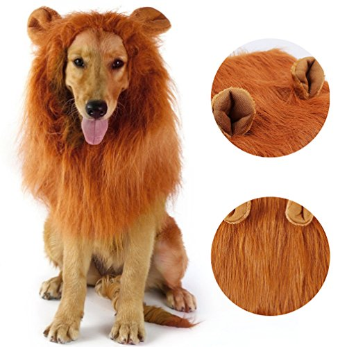 [Dog Lion Mane, Lion Wig Halloween Dog Custome for Medium to Large Sized Dogs Adjustable Pet Fancy Hair for Festival Party] (Halloween Customes)