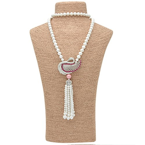 Romantic Time 'Love Peacock' Cultured Pearl with Pear Diamond Cut Pendant Necklace (purple)
