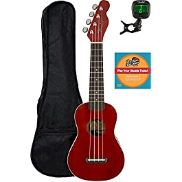 Fender Venice Soprano Ukulele – Cherry Bundle with Gig Bag, Tuner, and Austin Bazaar Instructional DVD