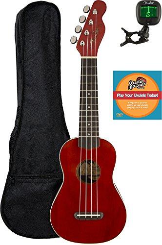 Fender Venice Soprano Ukulele - Cherry Bundle with Gig Bag, Tuner, and Austin Bazaar Instructional DVD