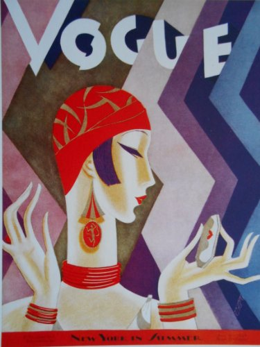 Stylish woman in red and gold cloche hat and drop earrings looks in a compact mirror against a zigzagged background. - Artwork by Eduardo Garcia Benito - 15 July 1926 -