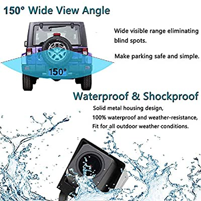 EWAY Car Backup Reverse Rear View Spare Tire Mount Camera for Jeep Wrangler 2007-2020 Waterproof Reversing Parking Aftermarket Camera Removable Guideline with Backup Camera Radio Video Input Cable: Beauty