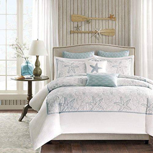 Harbor House Maya Bay Duvet Cover King Size - White, Blue , Embroidered Coastal Seashells, Starfish Duvet Cover Set - 4 Piece - 100% Cotton Light Weight Bed Comforter Covers
