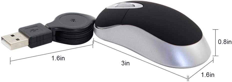 Mini Travel Optical Mouse USB Wired Mouse with Retractable USB Cord for PC Laptop Blue