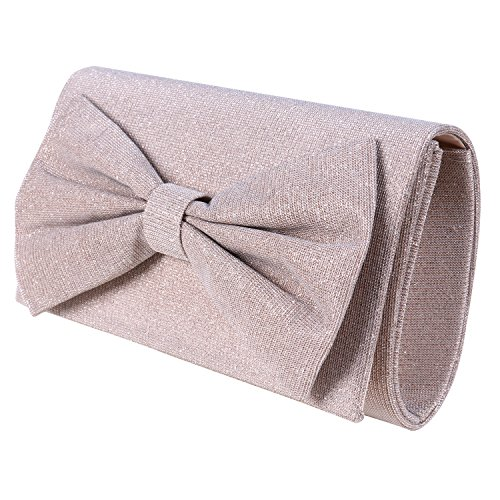 Women's Shiny Bow Tie Handbag Evening Party Wedding Clutch Wallet With Detachable Chain Shoulder (Bow Clutch)