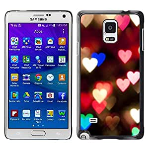 FECELL CITY // Duro Aluminio Pegatina PC Caso decorativo Funda Carcasa de Protección para Samsung Galaxy Note 4 SM-N910 // Hearts Lights Pink Teal Night Blur Love