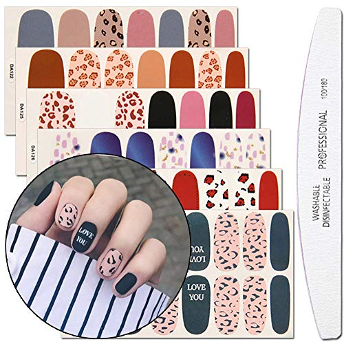 WOKOTO 6 Sheets Dotting Nail Art Polish Wraps Sticker Strips With 1Pc Nail File Leopard Print Adhesive Manicure Decal Design ()