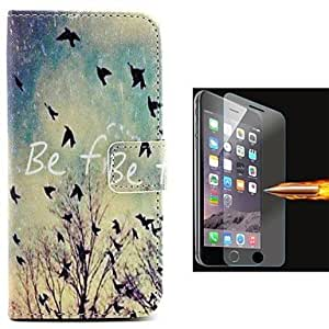 ZMY Dusk Birdie PU Leather Full Body Case with Explosion-Proof Glass Film for iPhone 6