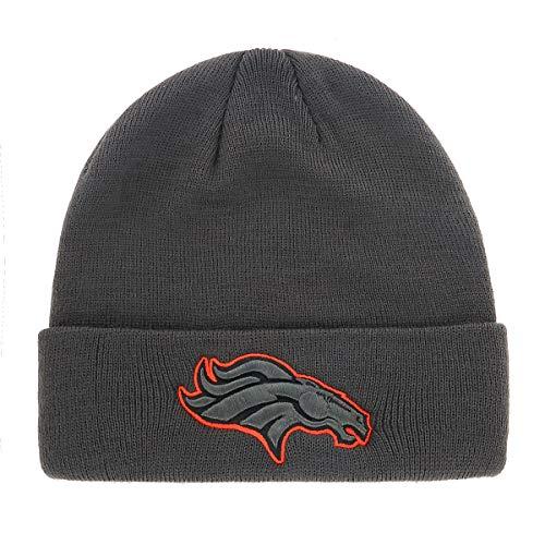 NFL Denver Broncos Mens Raised OTS Cuff Knit Cap, Charcoal, One Size