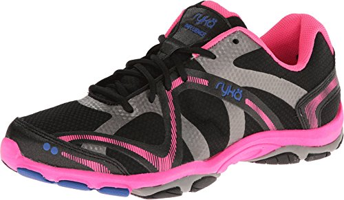 Ryka Women's Influence Black/Atomic Pink/Royal Blue/Forge Grey 10 Wide US