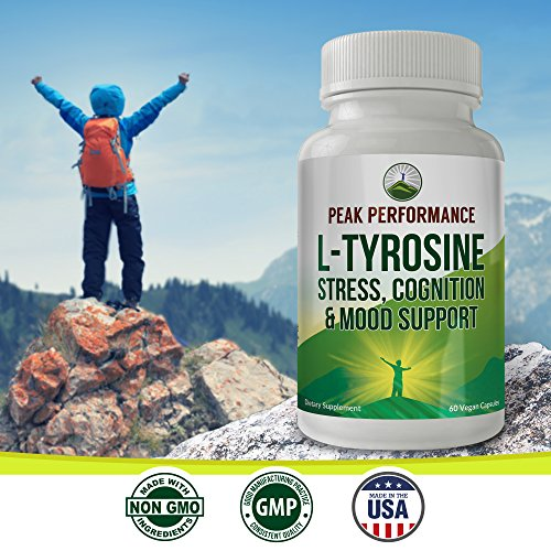L-Tyrosine for Adrenal Health Support by Peak Performance. Amino Acid Supplement for Balanced Cortisol Levels, Mental Clarity and Mood Support. Reduce Brain Fatigue and Brain Fog (1 Pack) by Peak Performance Coffee (Image #4)