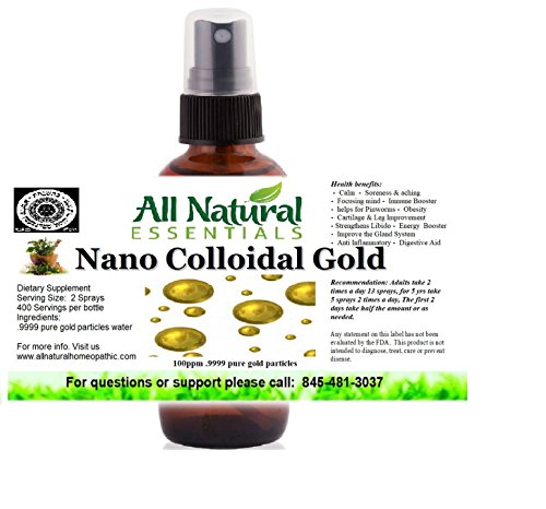 True Pure Nano Colloidal Gold 2oz bottle 100ppm kosher certified all natural (Generator Gold Colloidal)