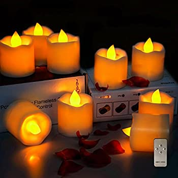 Intsun Set of 9 Pcs Flameless Candles with Remote Control, Battery Operated Flickering Tea Lights, LED Candles Tealights with Timer, Amber Yellow Light for Wedding, Birthday, Party, Christmas