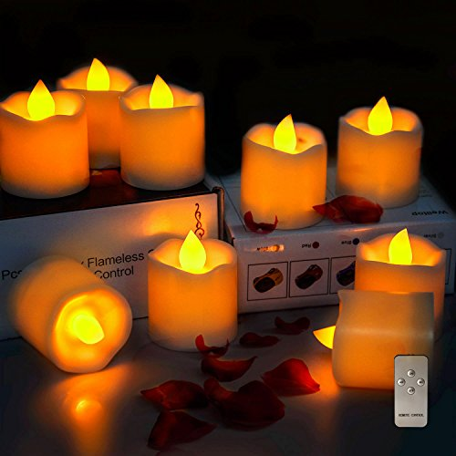 Intsun 9pcs Battery Operated Remote Timer Flameless Candles, LED Candles Pillar, Tea Lights, Last Up To 72 Hours, Seasonal  Festival Decorations for Wedding, Birthday, Party (Warm Yellow) (Battery Net Operated Lights)