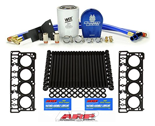 2003-2006 Ford Powerstroke 6.0L Diesel Custom ARP Head Stud Kit & Sinister Diesel Coolant Filtration Kit & OEM Style 18mm Head Gasket Set- Bundle (Sinister Diesel Oil)