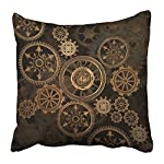 Emvency Throw Pillow Cover Square 16x16 Inches Steampunk Steam Punk Gears Clock Abstract Gold Technology Vintage Bronze… 5