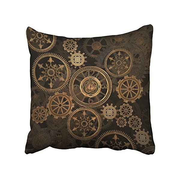 Emvency Throw Pillow Cover Square 16x16 Inches Steampunk Steam Punk Gears Clock Abstract Gold Technology Vintage Bronze… 2