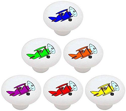 Knob Drawer Plane (SET OF 6 KNOBS - Colorful Airplanes Airplane Plane - DECORATIVE Glossy CERAMIC Drawer PULLS Dresser Drawer KNOBS)
