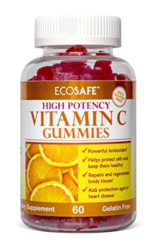 Ecosafe Chewable Vitamin C Gummy - Certified Kosher and Halal Gummy - Gelatin, Gluten and Soy Free - 240 mg per serving - 30 servings by EcoSafe