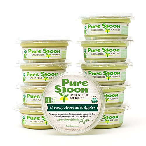 Pure Spoon Garden Fresh Organic Avocado Stage 1 Baby Food Sampler, 4.2oz (Pack of 10)