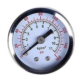 "Alloet Numeric Metal 1.5"" Face NPT Air Compressor Hydraulic Pressure Gauge 1/8"" 200 PSI Side Mount Portable"