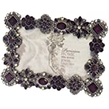 Rhinestone Jeweled Silver Pewter Purple 4 x 6 Picture Frame Enamel