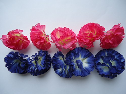 10 Fabric Carnations, Pink and Blue